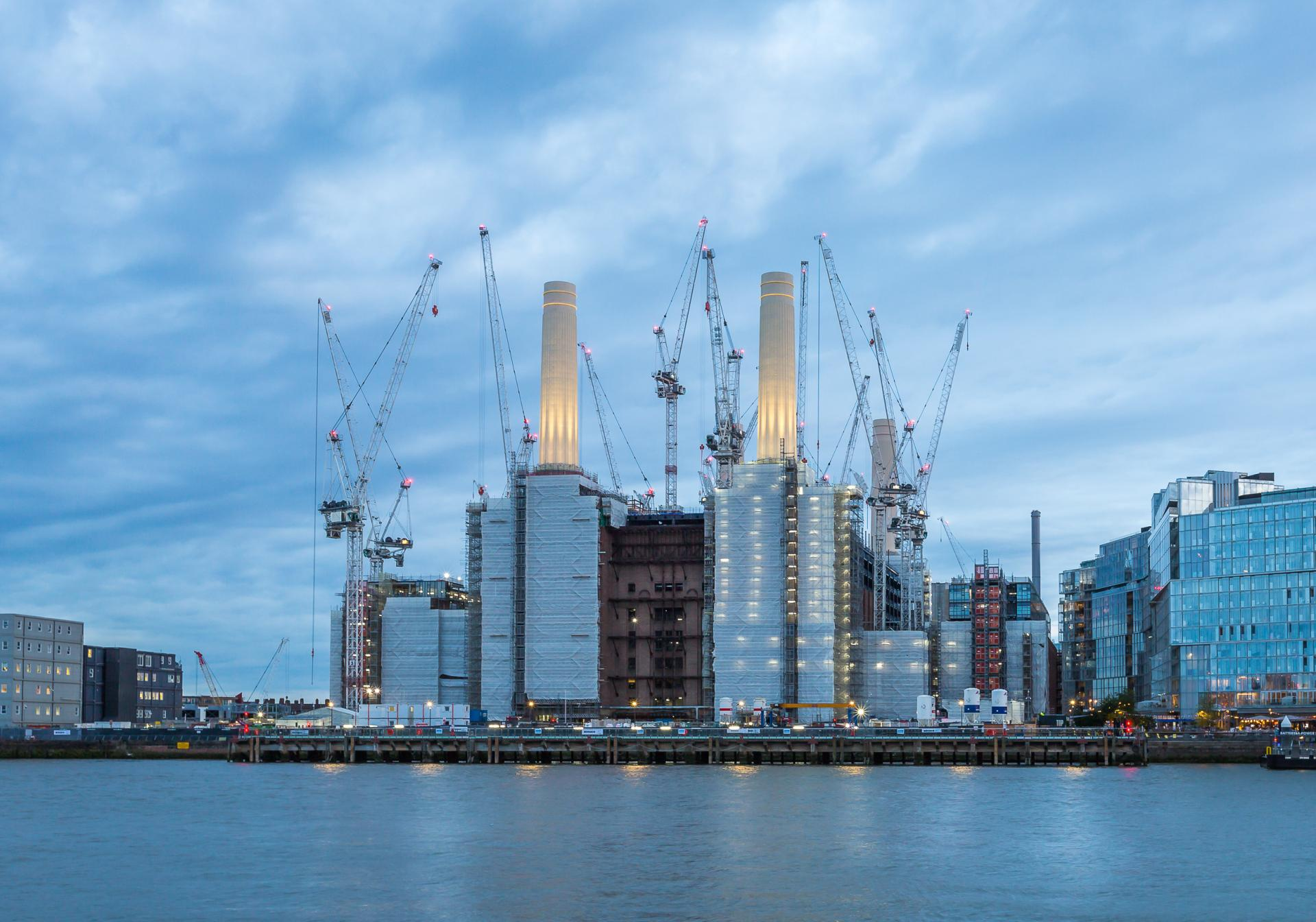 Battersea Power Station taken just after sundown when the light is a blue colour.London Architectural Photographer, Liane Ryan Photography
