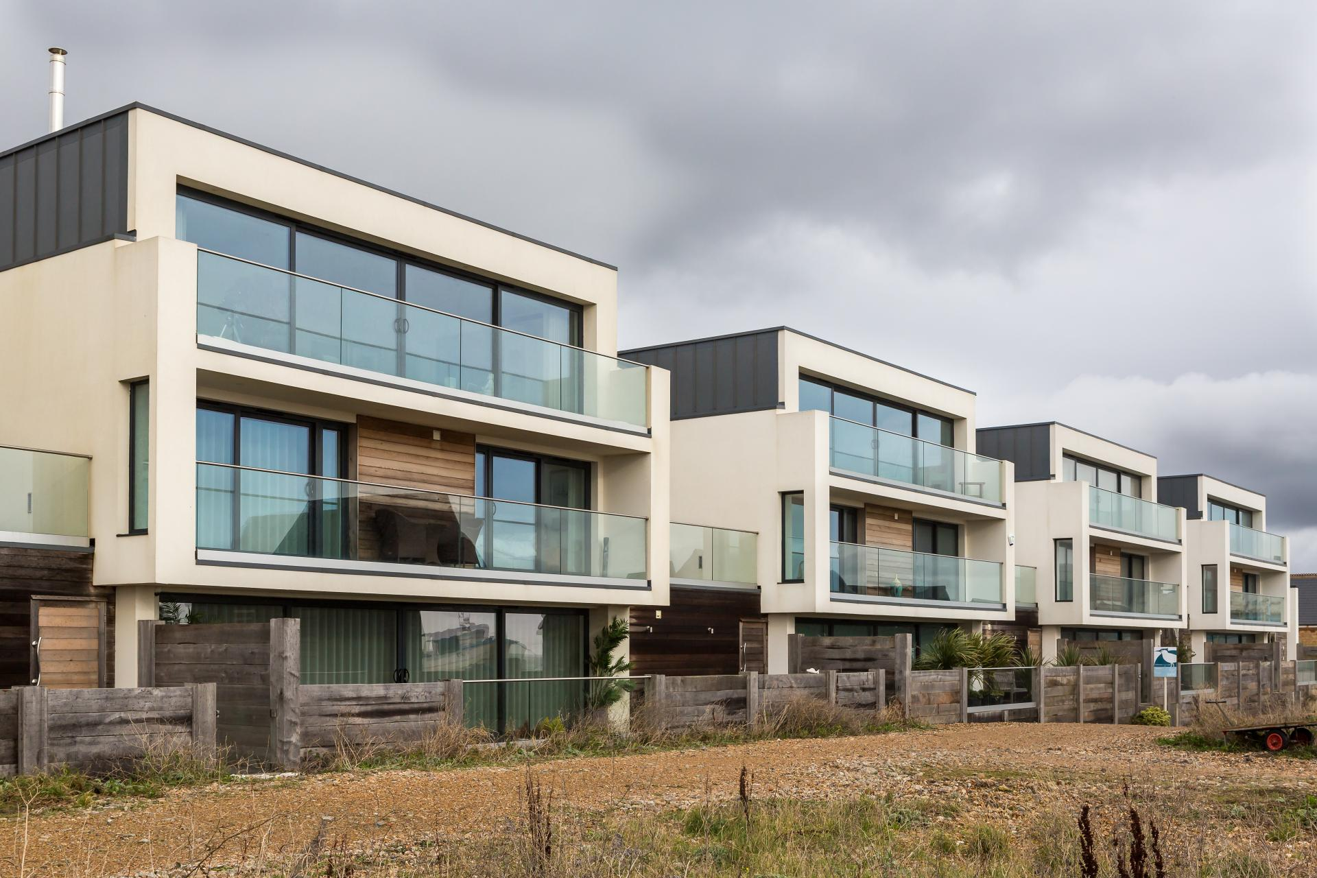 Exterior of beach facing new development on coast -