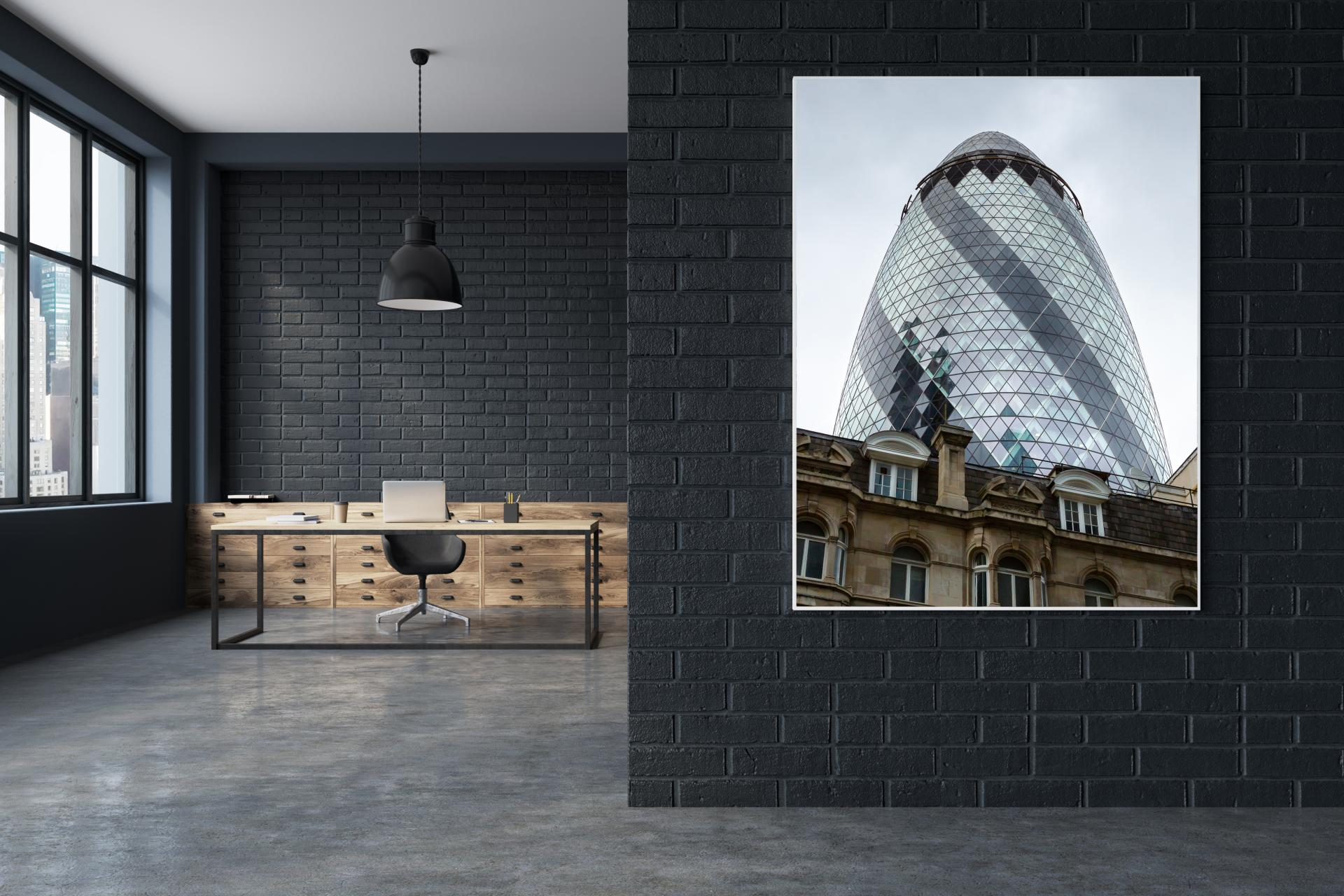The Gerkin rising up behind traditional old building infront, Liane Ryan Interior/Architectural Photography