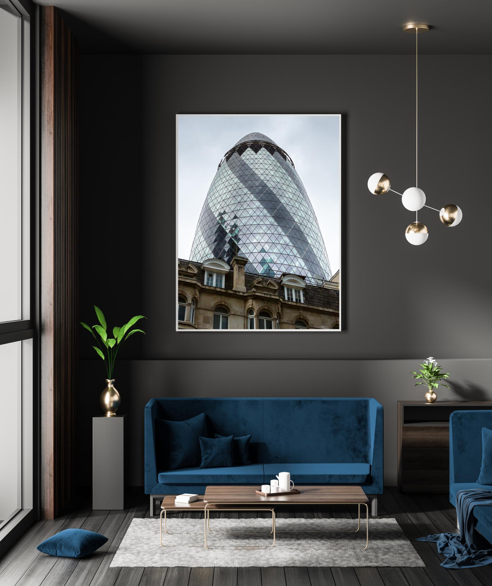 The Gerkin Building in London rising up behind traditional old building tops. London Architectural Photographer, Liane Ryan Photography