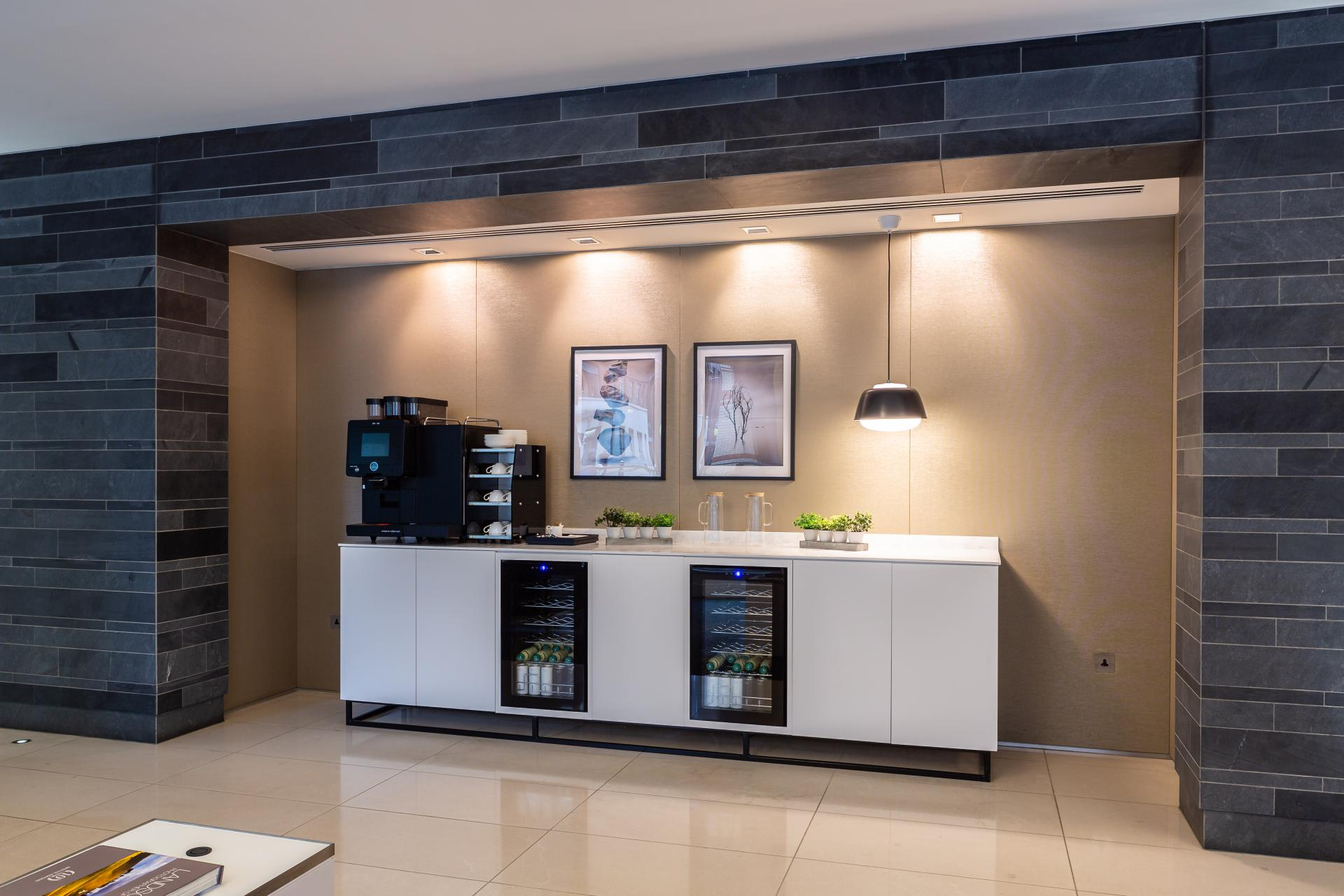 New tea point installed in London offices reception area -Liane Ryan Photography - Interior and Architectural Photographer in London and Essex