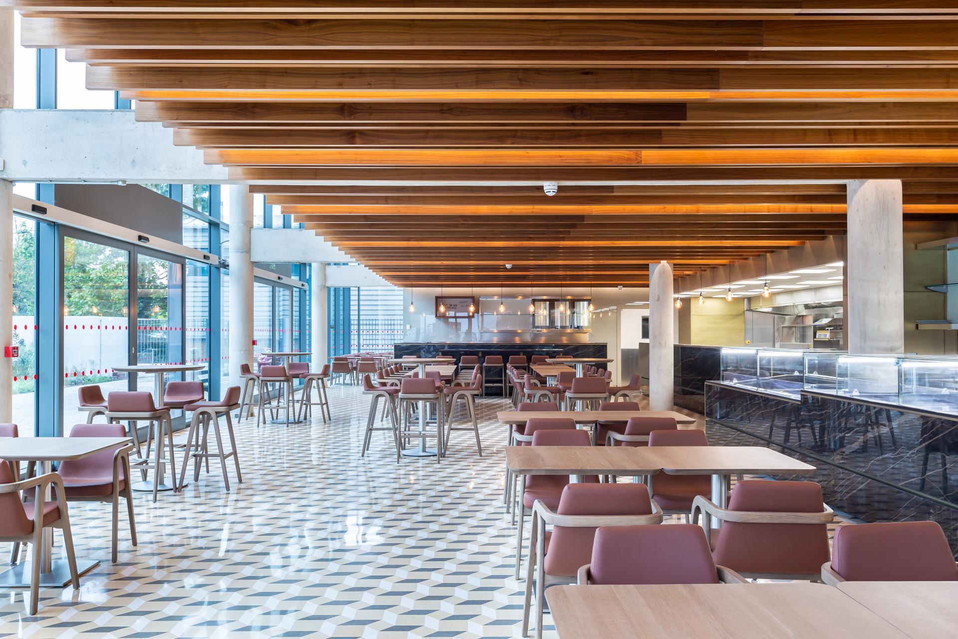 Interior of new restaurant at Maroush food factory -