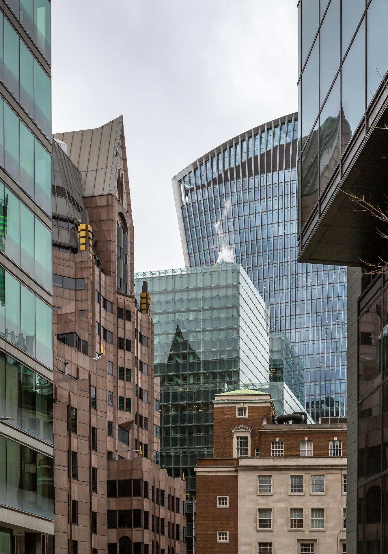 Walkie in background, mix of architectural styles in the foreground, taken outside Fenchurch Street, London,Liane Ryan Interior/Architectural Photographer